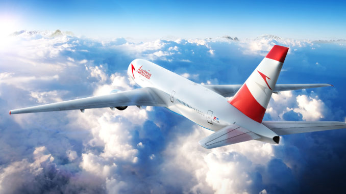 Austrian Airlines Boeing 777 in the air