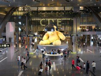 Doha Hamad International Airport the teddy bear in the transit hall
