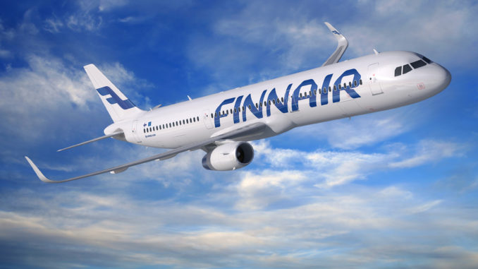 Finnair Airbus A321 with sharklets in the air