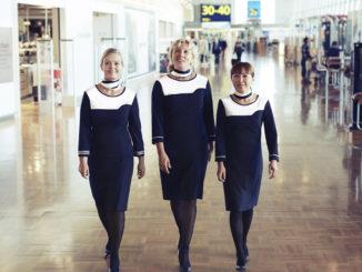 Finnair ground staff with uniform at Helsinki Vantaa