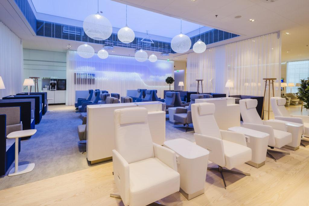 Finnair new Premium Lounge Helsinki Vantaa white armchairs