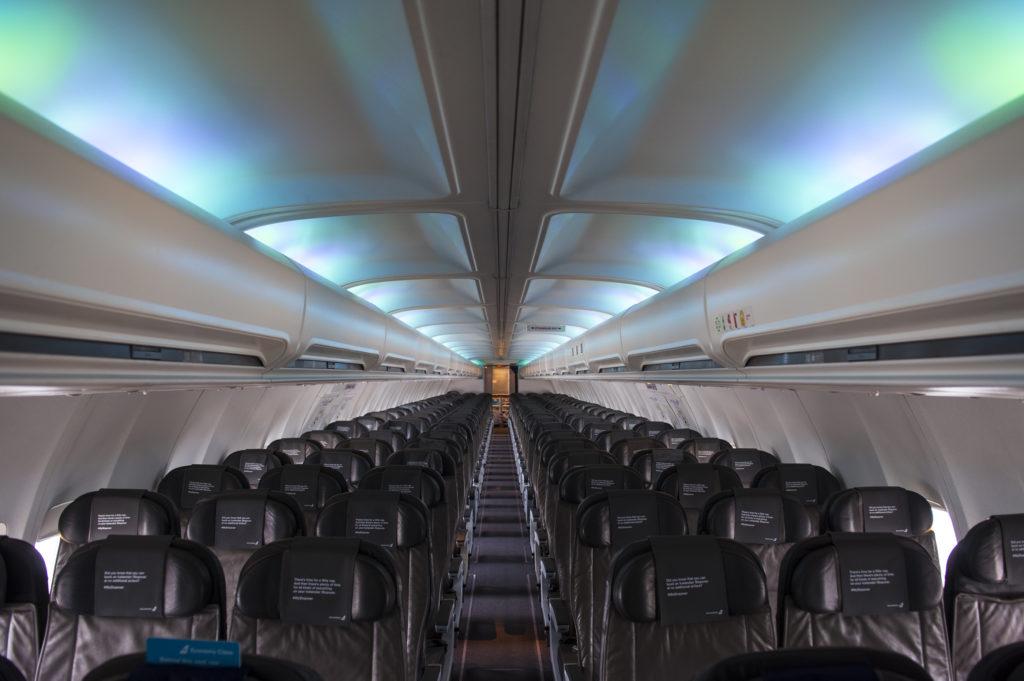 Icelandair Boeing 757 Hekla Aurora economy class cabin