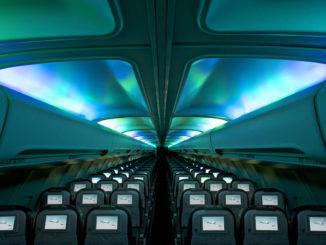 Icelandair Boeing 757 Hekla Aurora economy class cabin with mood lighting