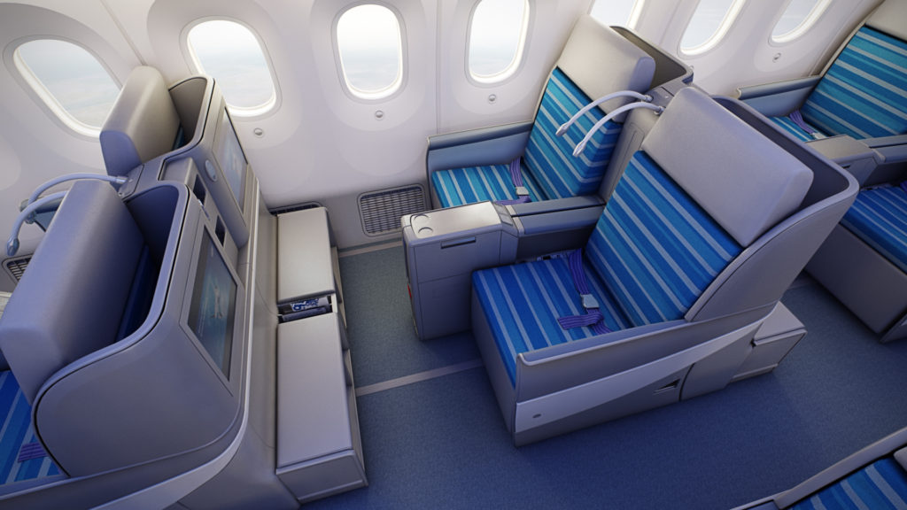 LOT Business Class Boeing 787 Dreamliner with screens from above
