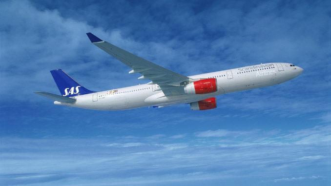 SAS Airbus A330 in the air