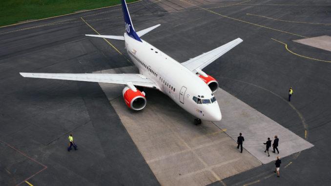 SAS Boeing 737 on the ground