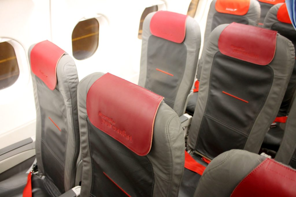Austrian Airlines Business Class Munich-Vienna seat and cabin