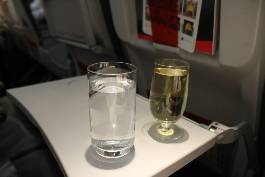 Austrian Airlines Business Class Munich-Vienna white wine