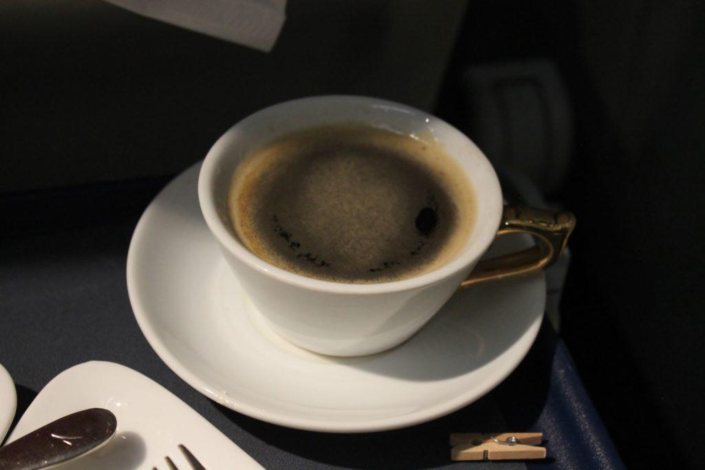 Austrian Airlines Business Class Munich-Vienna coffee