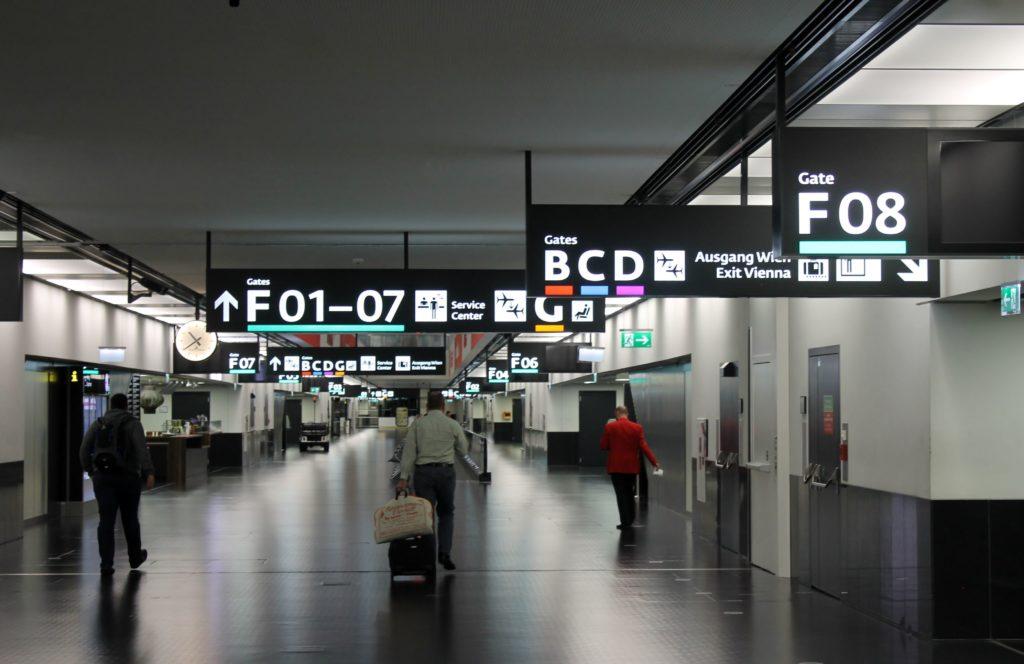 Austrian Airlines Business Class Munich-Vienna transit hall