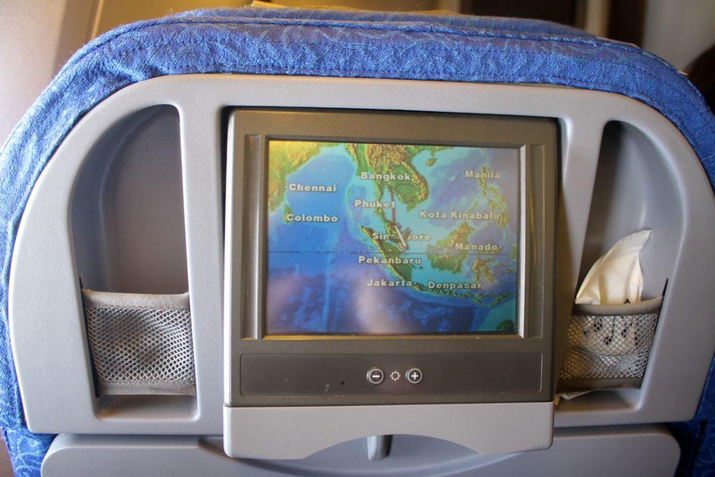 Singapore Airlines Economy Class Bangkok-Singapore Changi inflight entertainment system