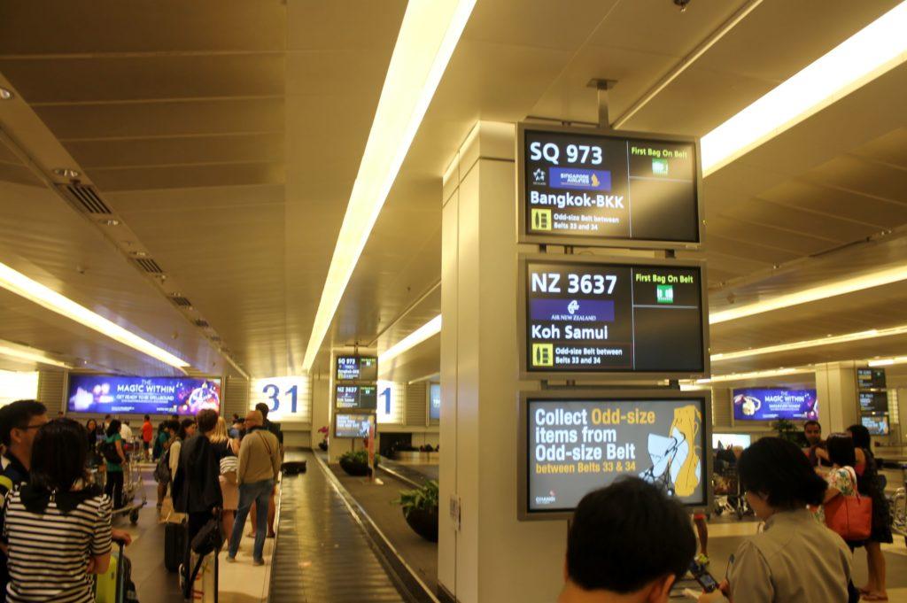 Singapore Airlines Economy Class Bangkok-Singapore Changi arrivals hall