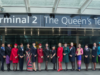 Star Alliance flight attendants in uniforms outside London Heathrow terminal 2