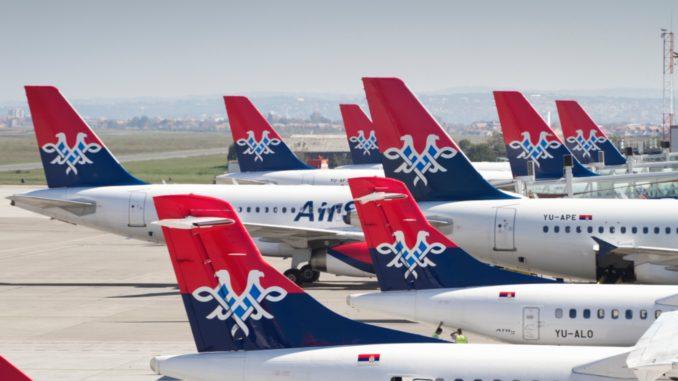 Air Serbia aircrafts with logos