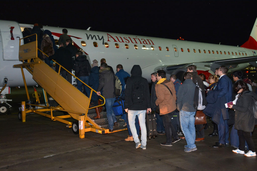 Austrian Airlines Embraer 195 passengers boarding the maiden flight