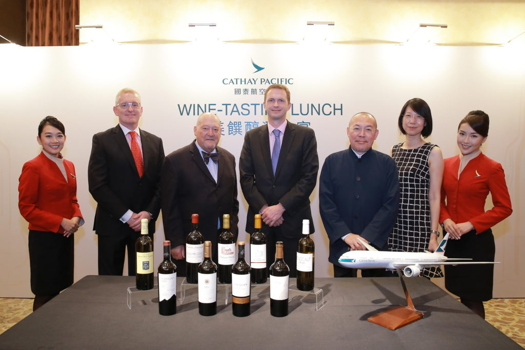 Cathay Pacific promotional wines in first class and business class