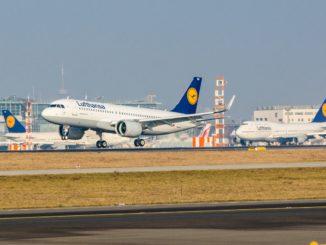 First Lufthansa Airbus A320NEO landing in Frankfurt