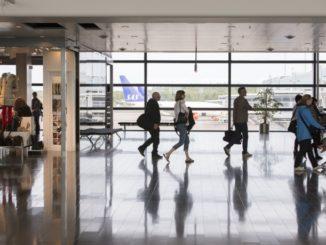 Stockholm Arlanda terminal 5 transit hall with apron view