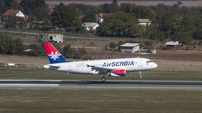 Air Serbia Airbus A319 landing in Belgrade