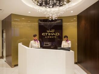 Etihad new Premium Lounge Abu Dhabi reception