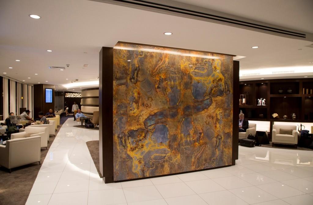 Etihad new Premium Lounge Abu Dhabi seating areas and art