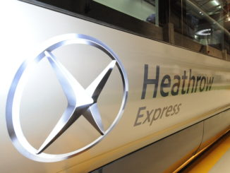 Heathrow Express train with logo