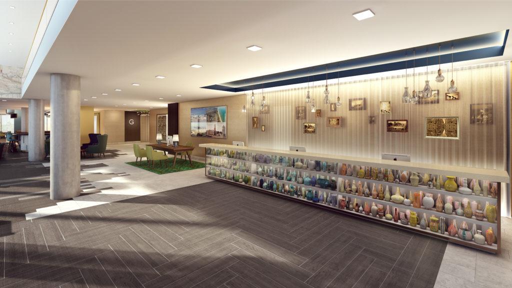 Hilton Bournemouth Hotel lobby with art