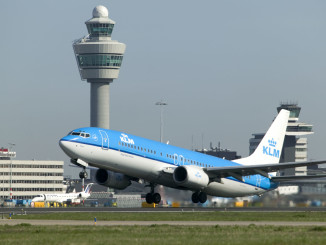 KLM Boeing 737-800 taking off at Amsterdam Schiphol airport