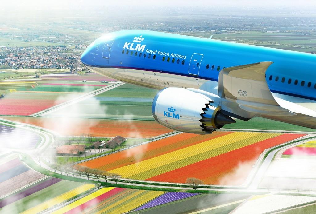 KLM Boeing 787-9 Dreamliner flying over colourful Dutch landscape