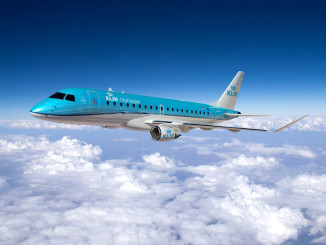KLM Embraer 175 in the air