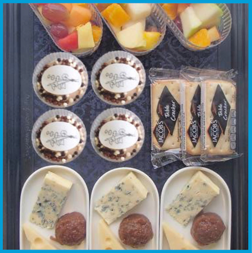 KLM World business class meal by Jonnie Boer cheese and dessert