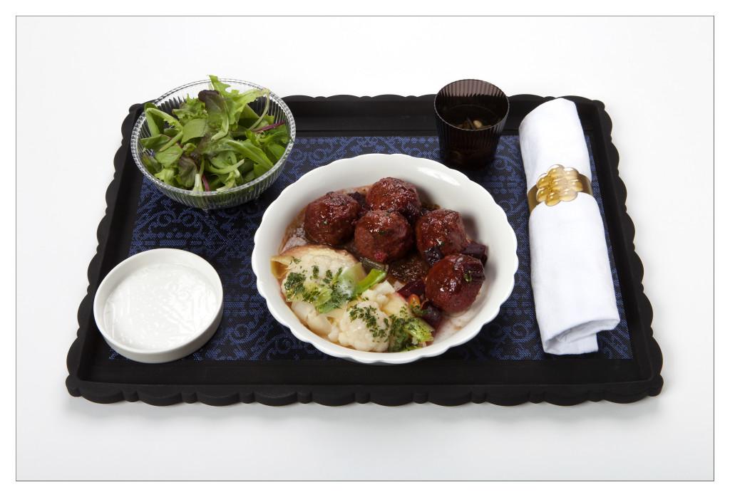 KLM new World Business Class chef Jacob Jan Boerma - main curse meatballs
