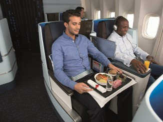 Meal service in KLM new longhaul World business class with two male passenger