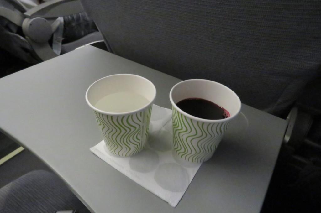 Finnair Economy Class Helsinki-Stockholm inflight service water blueberry drink