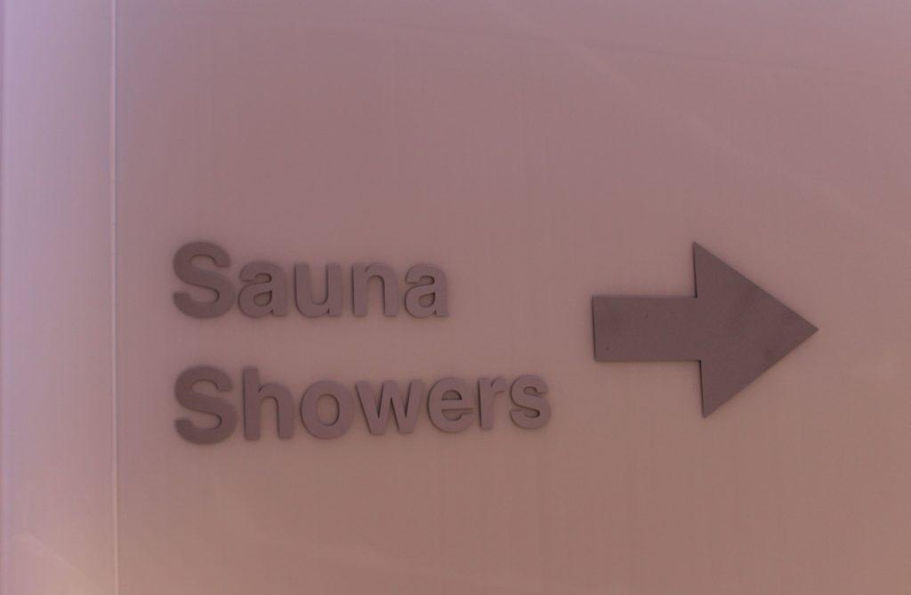 Sauna in the Finnair Premium Lounge, Helsinki Vantaa