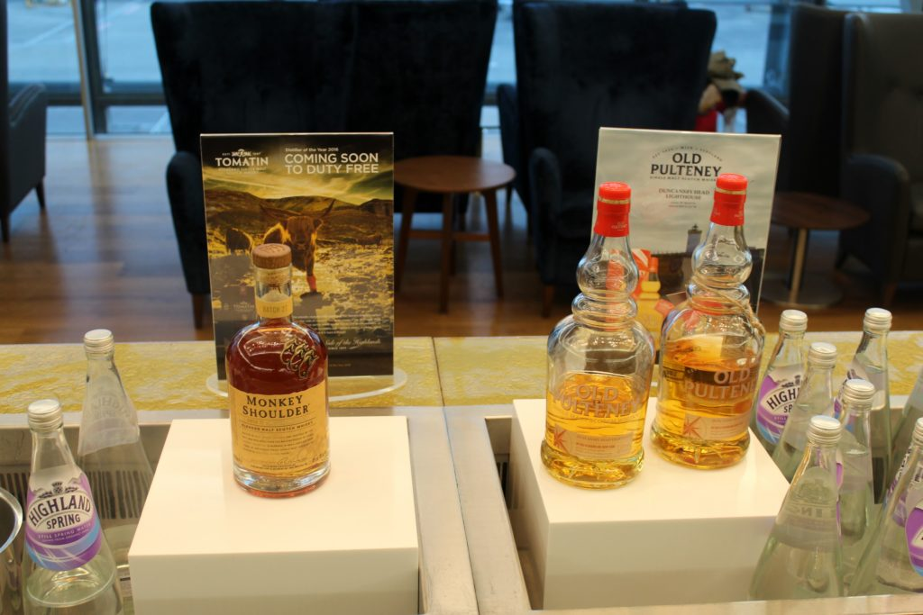 Whisky tasting in the British Airways Galleries First Lounge at London Heathrow