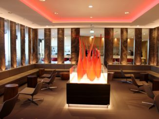 Air Canada Maple Leaf Lounge, Frankfurt seating area with fire flames