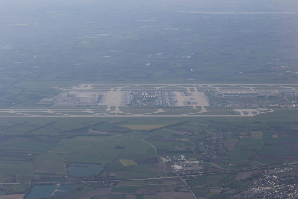 British Airways Business Class London-Munich airport from the air