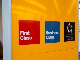 Lufthansa First Class, Business Class and Star Alliance Gold sign at Frankfurt airport