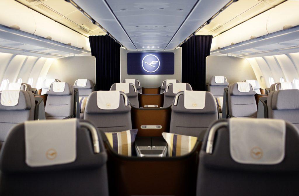 Lufthansa new longhaul business class cabin with logo