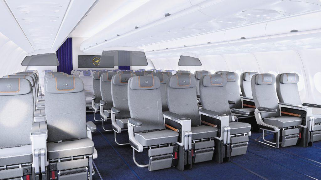 Seats in the Lufthansa premium economy class cabin