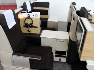Swiss new longhaul business class seat at the Aircraft Interiors Expo
