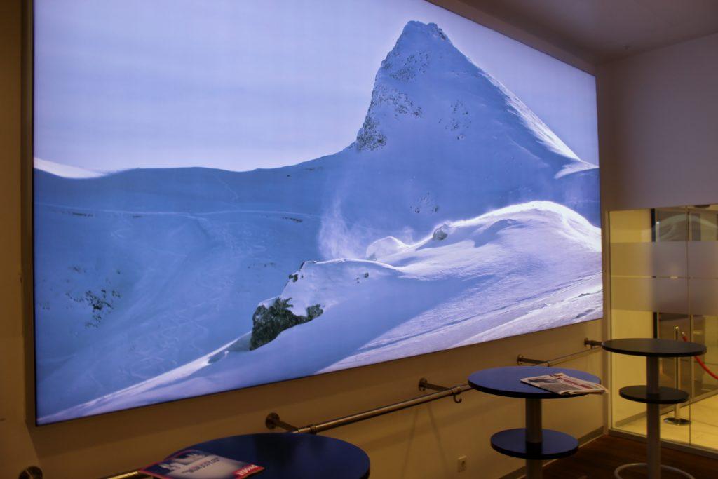Austrian Airlines Senator Lounge, Vienna Schwechat, Schengen Alps wall