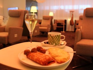Breakfast in the Finnair Premium Lounge in Helsinki