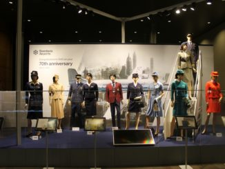Exhibition SAS 70 years with retro uniforms at Stockholm Arlanda airport