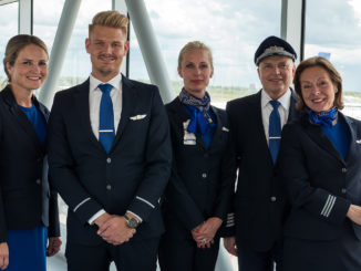 SAS cabin crew in the new uniform at the airport