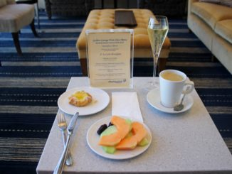 Breakfast in the Malaysia Airlines First Class Lounge at London Heathrow terminal 4