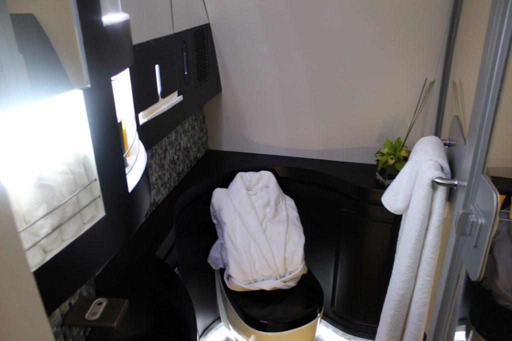 Inside Etihad The Residence bathroom and shower