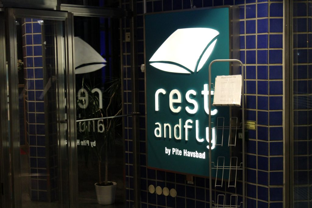 Rest and Fly by Pite Havsbad, Stockholm Arlanda sign
