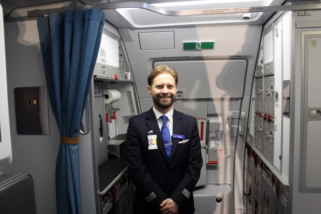 SAS new shorthaul seats and cabin, Airbus A320NEO flight attendant